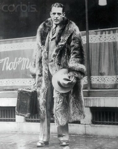 Red Grange Wearing Raccoon Skin Coat