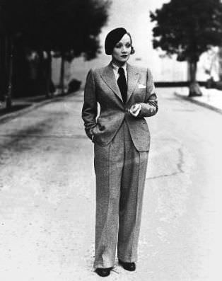 Marlene Dietrich wearing her trademark men's suit