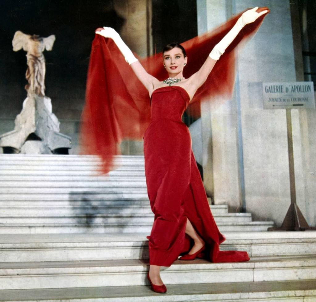 Audrey Hepburn wearing the iconic 'Victoire de Samothrace' gown by Givenchy in 'Funny Face'