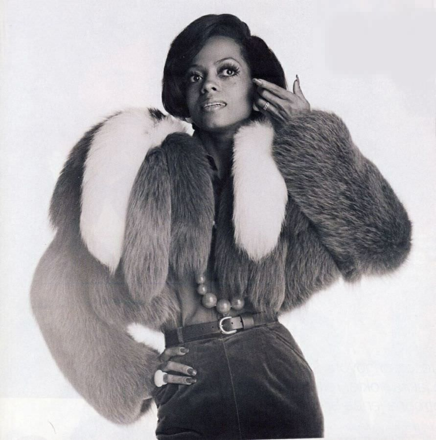 Diana Ross from her early days in a voluminous chubby jacket