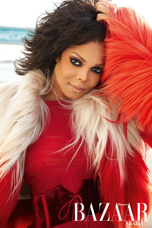 Janet Jackson appeard on the cover of the November 2011 issue of Harpers Bazaar Arabia awash in fur