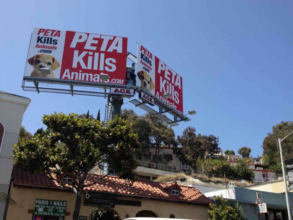 Peta Kills billboard currently displayed on Sunset Boulevard