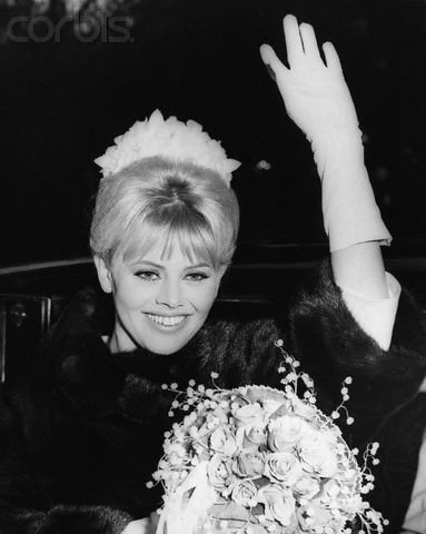Britt Ekland wore a sleek fur shrug on her wedding day in 1964 when she married English comedian Peter Sellers