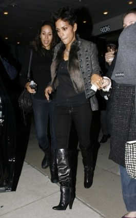 Halle Berry out with friends dressed in a fur vest