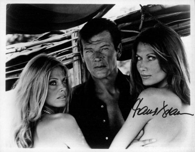 The Man With the Golden Gun saw Roger Moore paired with sexy Sweedish beauties Britt Ekland and Maud Adams