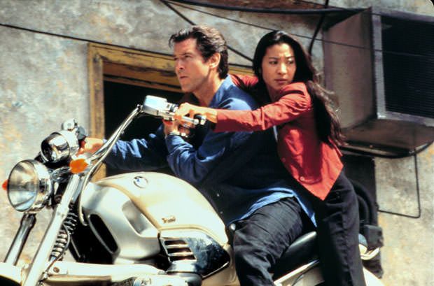 Michelle Yeoh, as Wai Lin, alongside Pierce Brosnan in Tomorrow Never Dies