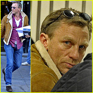 Actor Daniel Craig proves that he has swagger too in his sleek shearling while running around town in Sweden.