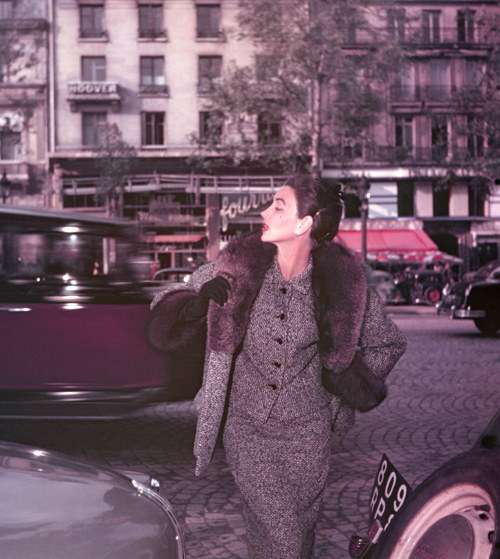 A 1953 ELLE shoot with Dorian Leigh on the Champs Elysees in Paris, for the winter collection of Lanvin Castillo. Photographed by by Georges Dambier.