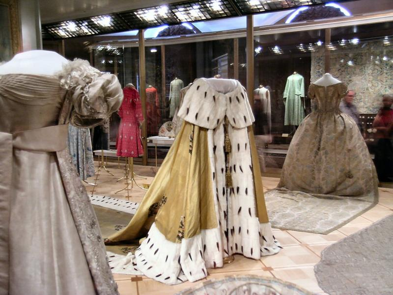 One of the Romanoff imperial coronation robes on display at Kremlin Museum, Moscow, Russia.