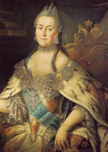 Portrait of Catherine II  of Russia wearing ermine