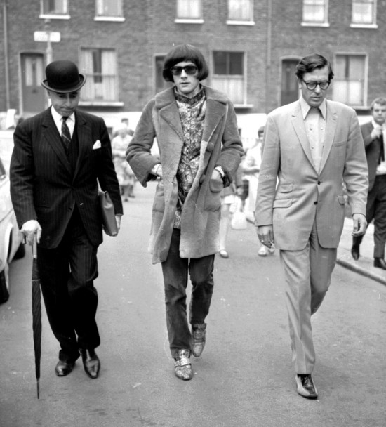 Prince Stash Klossowski de Rola (in the middle) with Sir David Napley, QC (left) and chauffeur and roadie of The Rolling Stones Tom Keylock (right), June 2nd 1967