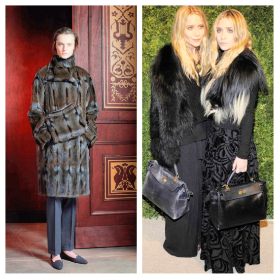 The Row Pre-Fall 2013 by Mary Kate and Ashley Olsen not only often use fur in their collections they wear it in their personal lives as a wardrobe must have | Animal Rights Goes Wrong | Things That Make You Go Hmmm…