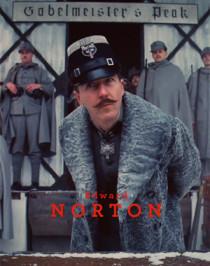 "Edward Norton and his grey Persian lamb coat, ""The Grand Budapest Hotel""."