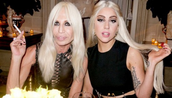 Peroxide besties. Donatella Versace and Lady Gaga