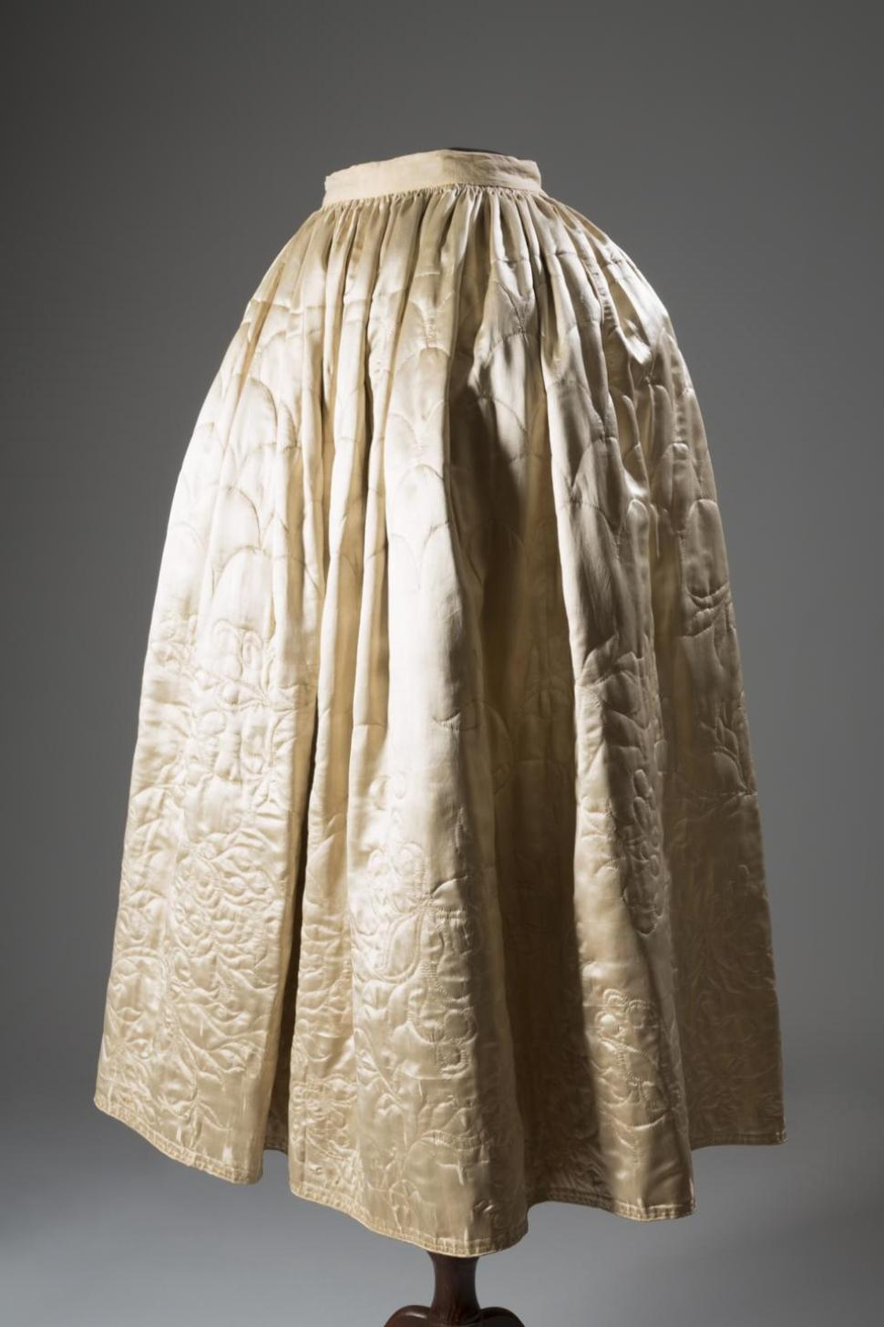 1765, quilted petticoat in silk and satin, English