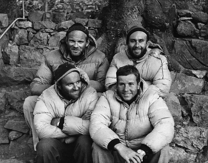Adventurers in the Himalayas wearing Moncler, 1962