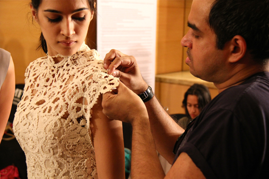 Bibhu Mohapatra doing a last fitting before the show