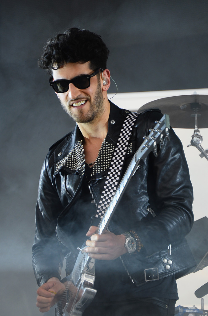 David Macklovitch of Chromeo took the Samsung Galaxy stage at Lollapalooza in a Saint Laurent leather perfecto