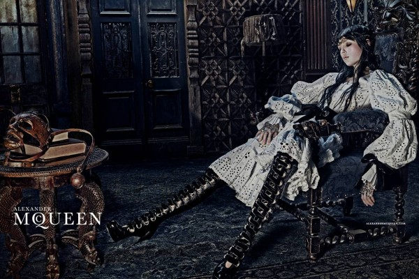 Edie Campbell and her horse Dollie front Alexander McQueen Fall 2014-Winter 2015 Campaign photographed by Steven Klein