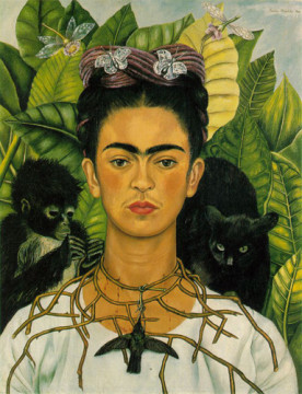 Frida Kahlo (1907-1954), Self-portrait with Thorn Necklace and Hummingbird,  1940.
