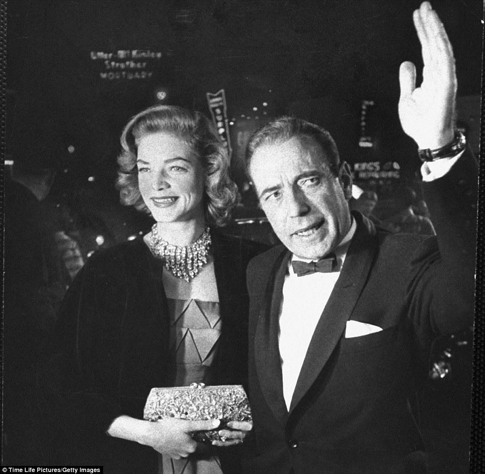 Humphrey Bogart and wife Lauren Bacall arrived at the 27th Academy Awards