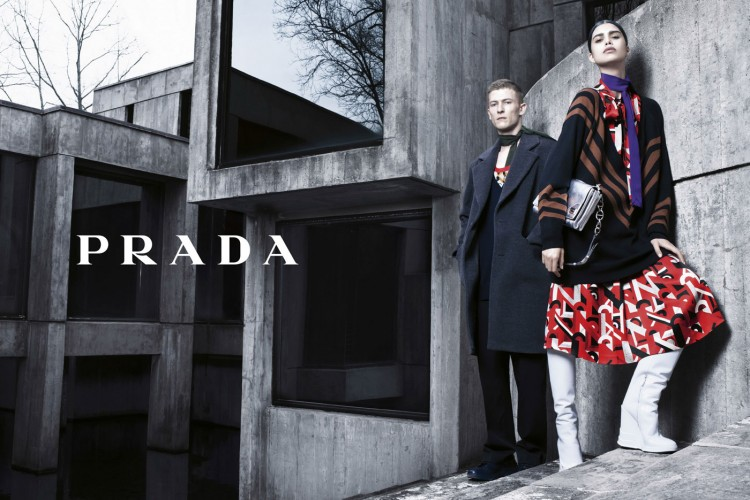 Karl Kolbitz and Mica Arganaraz front PRADA Fall 2014-Winter 2015 Campaign photographed by Steven Klein