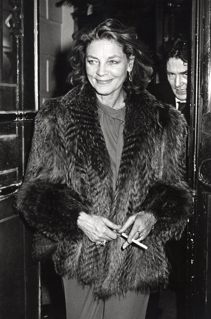 Lauren Bacall arrives at Woody Allen's NYC New Year's Eve party in 1979
