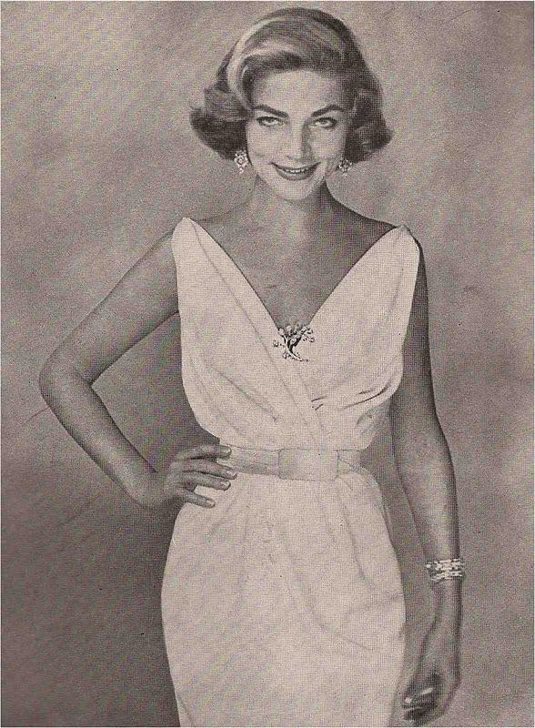Lauren Bacall in Ceil Chapman dress, Warhol Harper's Bazaar, July 1957