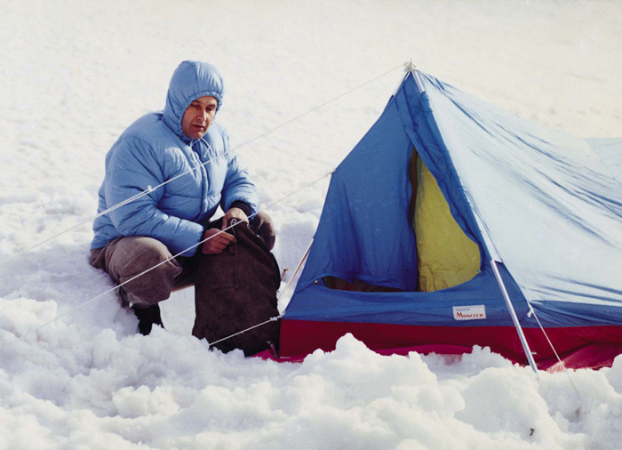 Lionel Terray in Alaska, 1964 (the tent is also by Moncler)
