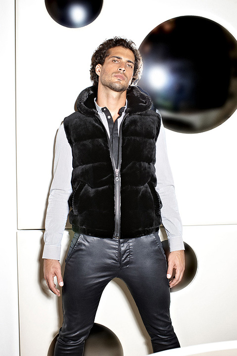 Hooded sheared fur vest by Paolo Moretti