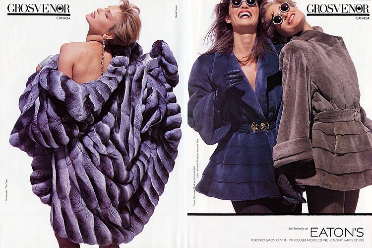 Late 1980s- early 1990s fur style, Grosvenor advertisement