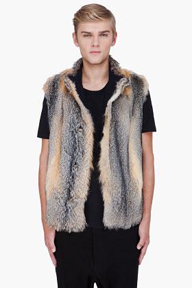 Marni - Natural grey fox fur vest