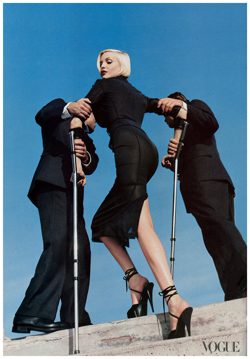"""Disability Imagery"" with Nadja Auermann by Helmut Newton. Vogue, March 1995."