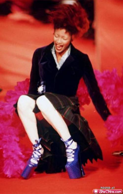 Only Naomi Campbell can fall during a Vivienne Westwood show, laugh and look good doing it