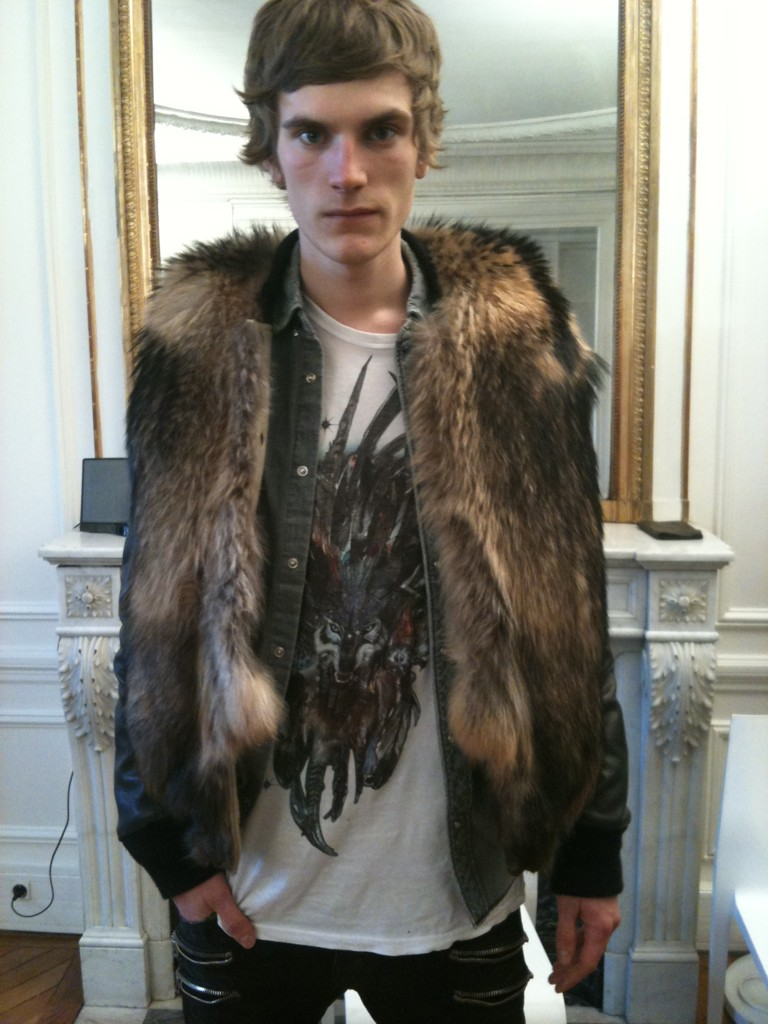 Rock Vibe - model sporting a fur vest during Paris Fashion Week