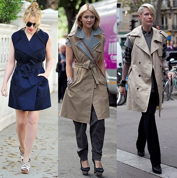 Sleeveless trench coats are popping up on the fashion scene, from Burberry runway shows to fashionistas on the streets