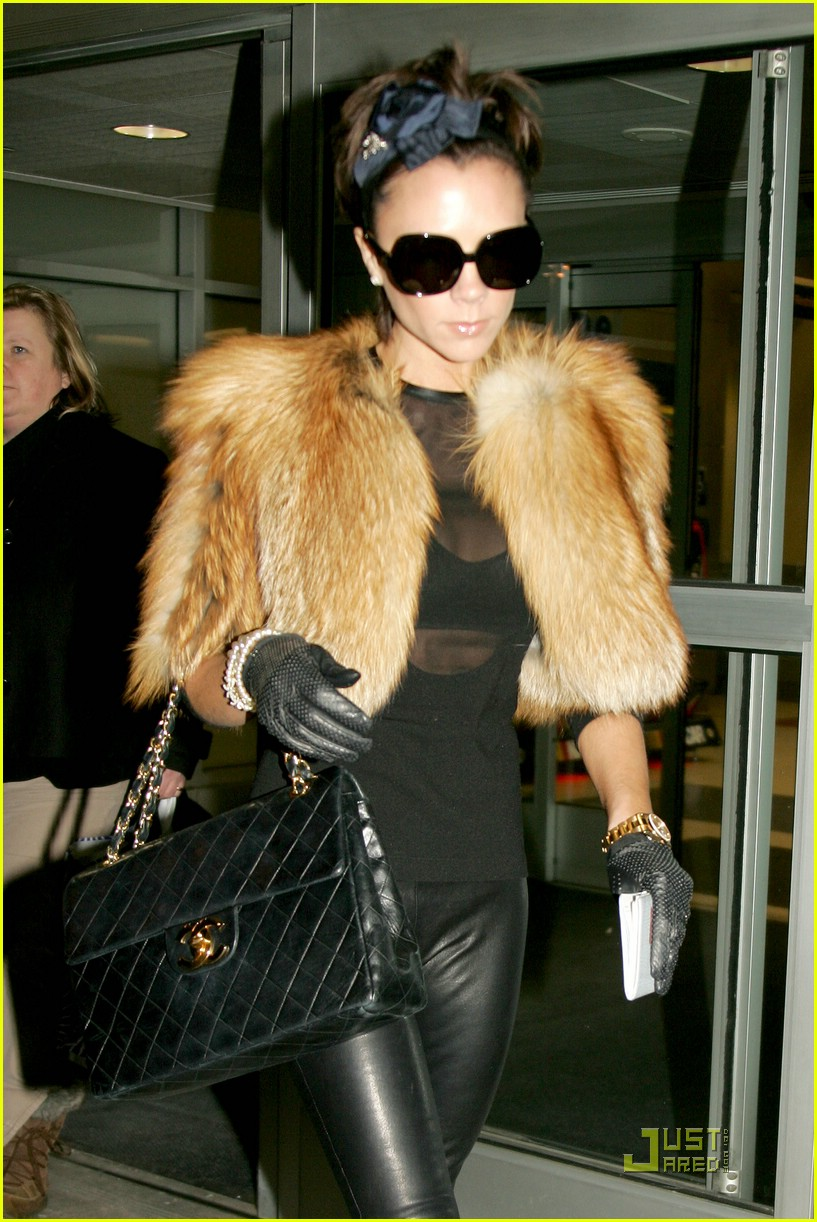 Victoria Beckham spotted wearing Christos Dovas cropped fur jacket with leather gloves (JustJared)