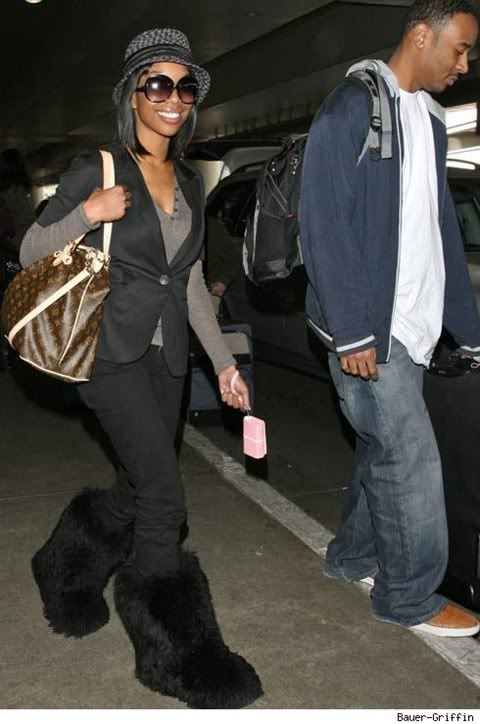 Brandy with some very big Ugg fur boots at LAX