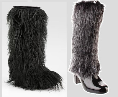 Fur snow boots by Miu Miu (left) and Melissa (right)