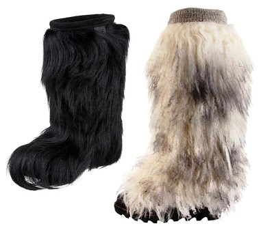 Fur snow boots by Technica (left) and Sorel (right)