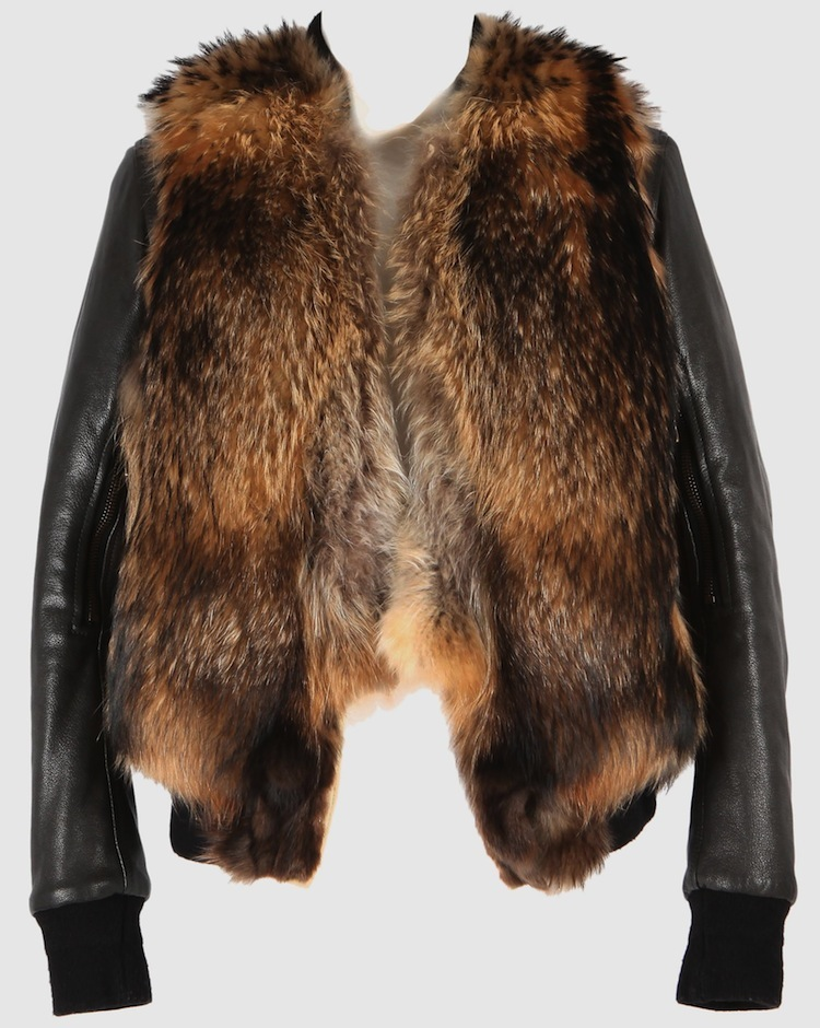Hybrid blouson with raccoon fur chest and leather sleeves. Balmain - Fall 2011-Winter 2012