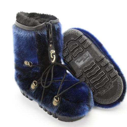 Kids cobalt blue fur boots by Grenier