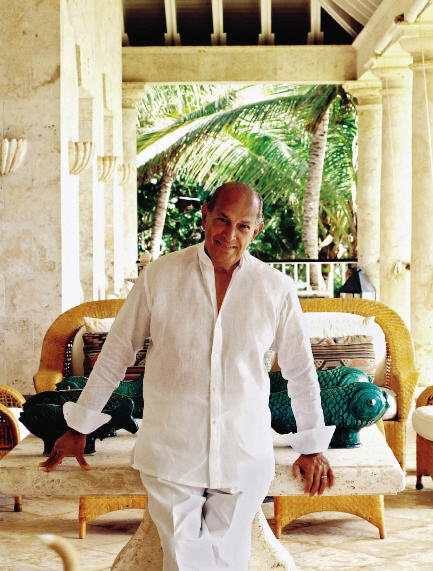 Oscar de la Renta in his fabulous home in Punta Cana.
