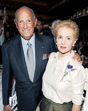 Oscar de la Renta with friend and fellow designer Carolina Herrera