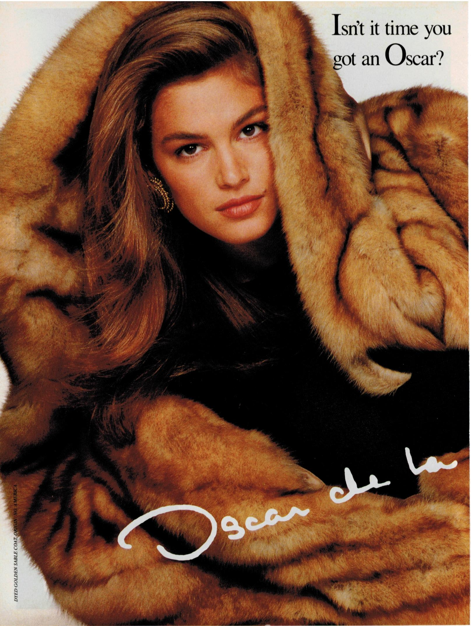 Oscar de la Renta advertisement with Cindy Crawford, 1988