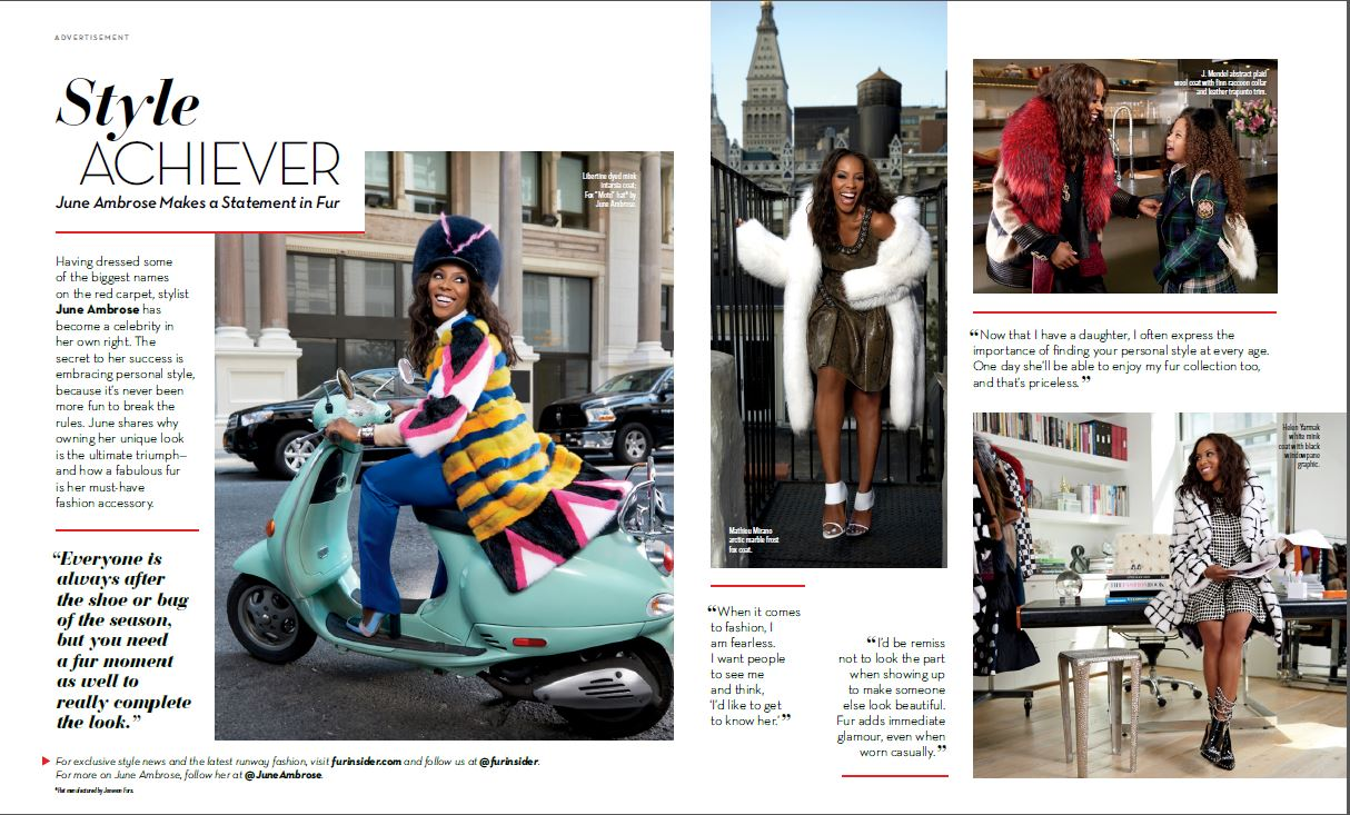 "FurInsider.com's 2014 ""Style Achiever"" ad campaign featuring celebrity stylist June Ambrose"