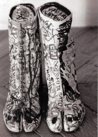 Tabi boots with hand drawn graffiti, Maison Martin Margiela - Spring-Summer 1990