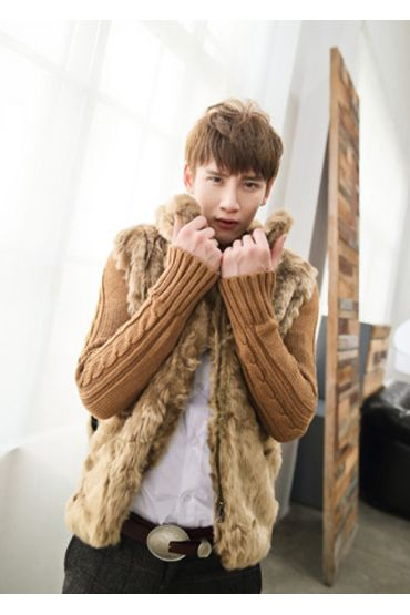 Fur cardigan sweater with cable knit sleeves