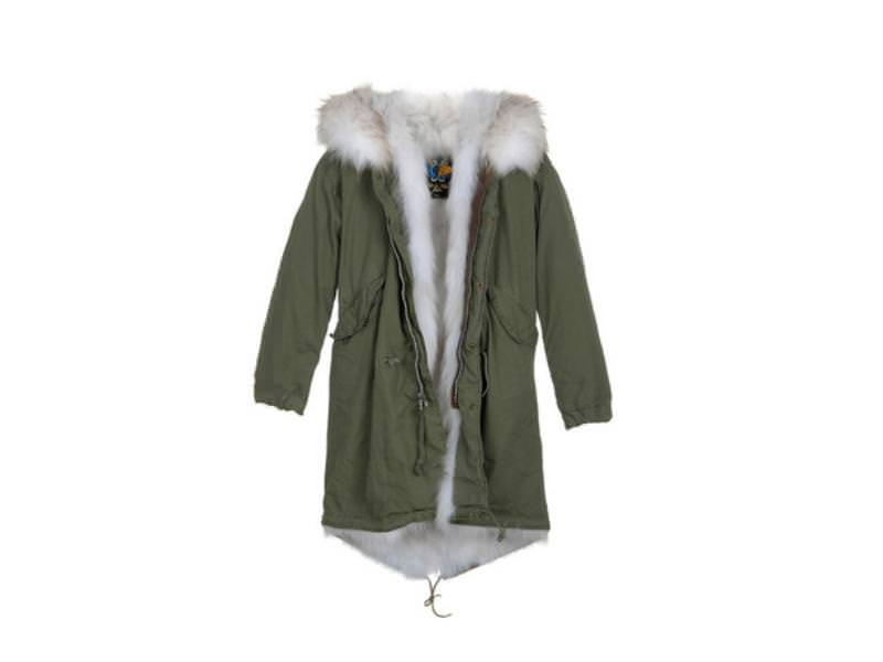 Fur-lined military parka by Mr & Mrs Fur