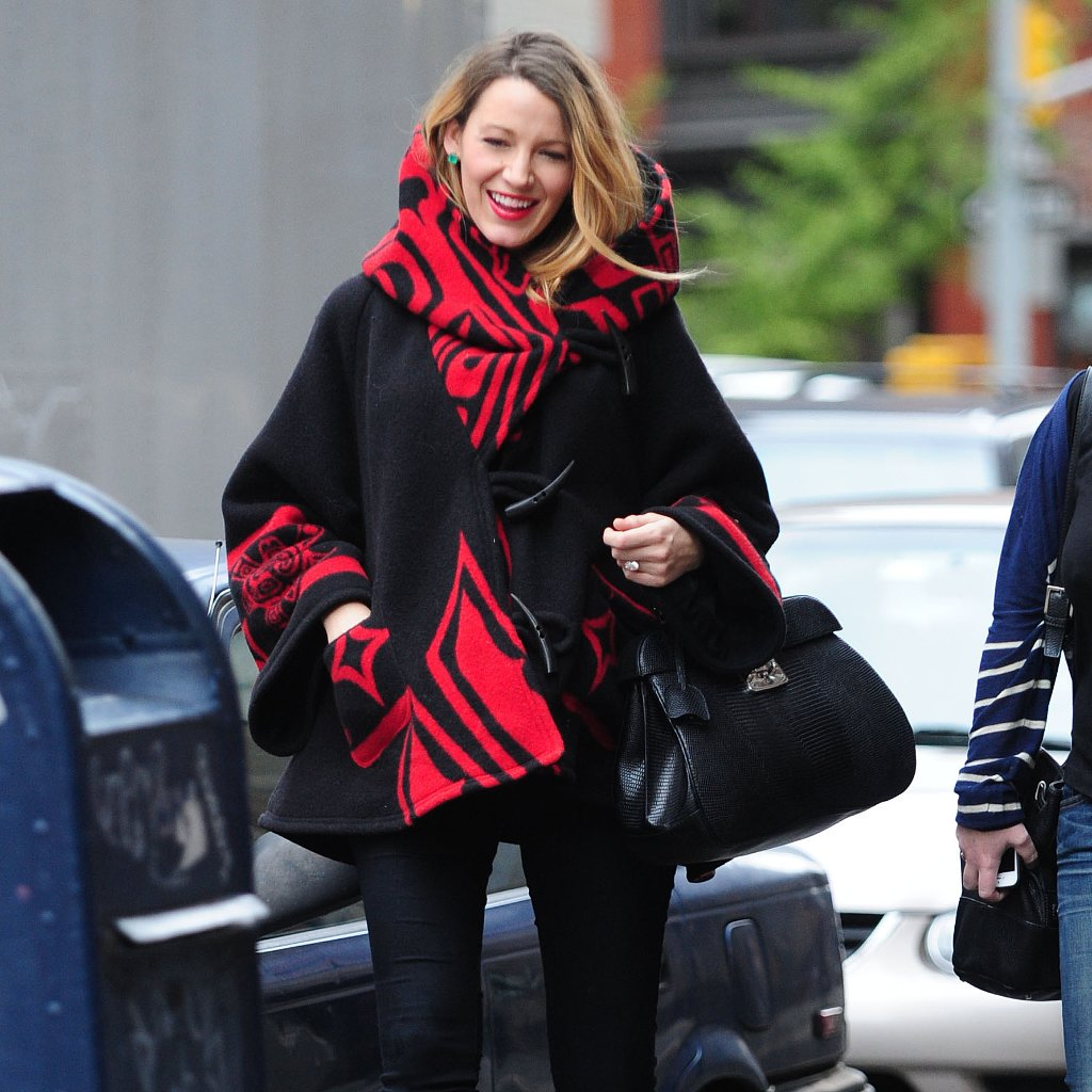 Blake Lively's maternity style  favors ponchos